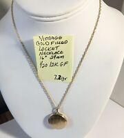 """Vintage Gold Filled Locket Necklace 1/20 12K GF 16"""" 24mm"""