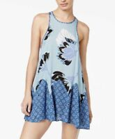 Free People Sleeveless Slip Dress Floral Open Back Blue Purple Size XS, S, M NEW