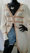 Vintage Hippy Boho Embroidered Cheese Cloth Shirt Top Jacket Lagenlook Style