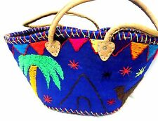 Handwoven & Leather Strap Shopping French Market Basket Bag Moroccan Blue