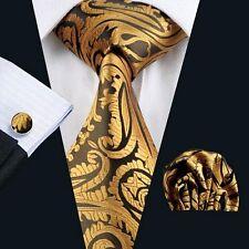 ORANGE GOLD PAISLEY SILK TIE HANKY & CUFFLINKS - ITALIAN DESIGNER