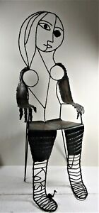 """SIMON KOPS, WI ARTIST, WELDED SCULPTURE """"PICASSO CHAIR"""", WOMAN SUBJECT, SIGNED"""