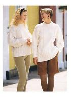 Knitting Pattern Ladies Cable Aran Sweater 2 lengths PATTERN ONLY 30-40 #hay41