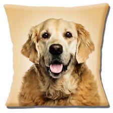 "Golden Retriever Dog Cushion Cover 16""x16"" 40cm Photo Print Beige Background"