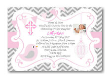 50 Personalised Girls Pink Christening Day ~Naming Day~Baptism Day Invitations P