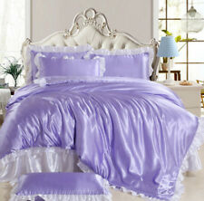 100% Ice Silk Solid Lace Bed Sets Duvet Covers Sheet Pillowcase Bedspread B682