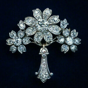 HALLOWEEN SPECIAL - 4Ct Round Cut Diamond Floral Brooch Pin 14k White Gold Over