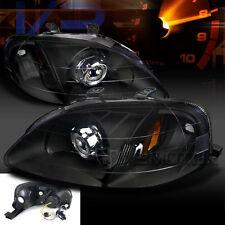 For 99-00 Honda Civic JDM Custom Retrofit Crystal Black Projector Headlights