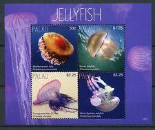 Palau 2017 MNH Jellyfish Portuguese Man O' War 4v M/S Marine Stamps