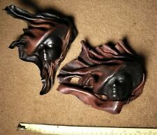 Lot of 2. Leather Masks. Hand Crafted. Wall Art Decorative Argentina.Pampas.