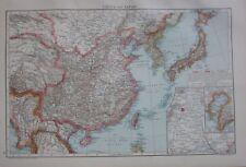 1893 Large Antique Carte ~ Chine & Japon Tibet Burma Tai-Wan Pékin Environs