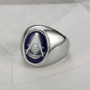 Free Mason Men's Masonic Ring Solid Stainless Steel Gothic Punk Biker Band Rings