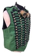 SDL Steampunk Green  Heavy Cotton  MilitaryWaist Coat XL 46/48 Chest & Goggles