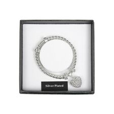 DIAMANTE HEART CHARM SILVER PLATED BRACELET GIFT BOXED BY EQUILIBRIUM