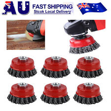 6x 75mm Steel Wire Cup Brush Wheel Twist Knot Knotted Wheels Angle grinder