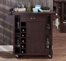 Rolling Kitchen Serving Cart Island Storage Utility Wine Cabinet Wood Rustic New