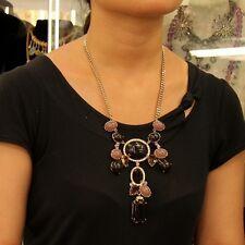 Collar Colgante Negro Rosa Cristal Retro Antiguo Estilo Original Noche JCR 12