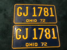 Vintage  Collectible  Pair Of 1972 OHIO License Plate Car Truck Man Cave
