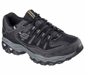 Skechers Shoes Men Wide Width Black Sport Memory Foam Leather Mesh Sneaker 50125