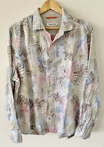 TOMMY BAHAMA Sz Large Washed Out Tropical Floral Long Sleeve 100% Linen Shirt