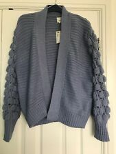 NWT RIVER ISLAND BLUE BOBBLE SLEEVE CARDIGAN SIZE S SMALL