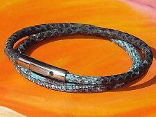Ladies Blue snakeskin print leather & stainless steel bracelet by Lyme Bay Art