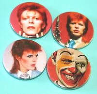 SET OF 4 VINTAGE STYLE DAVID BOWIE BUTTON PIN BADGES