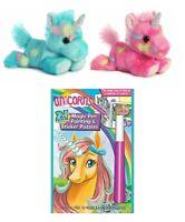 "Aurora 7"" Unicorn Stuffed Animal Set of 2 with Magic Ink Fun & Sticker Puzzles"