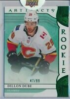 2019-20 Artifacts Emerald Green Rookies RED 185 Dillon Dube /99 Calgary Flames