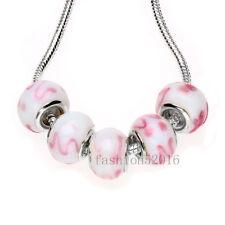 5pcs/GB109/ Silver MURANO GLASS BEAD LAMPWORK fit European Charm Bracelet