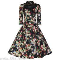PRETTY KITTY 50s BLACK FLORAL SWING PARTY ROCKABILLY COCKTAIL PROM DRESS 8-18