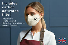 Spitfire Plane face mask triple layered, adjustable, washable face cover. 07