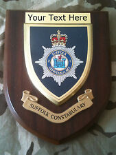 Suffolk Constabulary Police Force Personalised  Wall Plaque