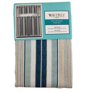 Waverly Curtain Set Millington Tier and Valance Set Blue Seafoam Yellow Stripes