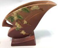 Vintage Roseville USA Snowberry Floral 1FH-7 Peach Maroon Pottery Vase Planter