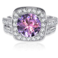 Sterling Silver Round Brilliant Cut Amethyst CZ Wedding Engagement Ring Set