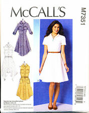 MCCALL'S SEWING PATTERN 7351 MISSES 14-22 SHIRT DRESSES WITH COLLAR & BACK PLEAT