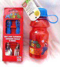 Super Mario Brothers Mario Flatware Folk&Spoon plus 13 oz Mario Water Bottle