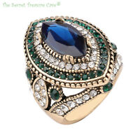Exotic Turkish Hurrem Style Women's CZ Blue Sapphire Resin Fashion Rings! NEW!!!