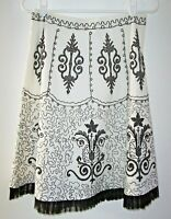 Basil & Maude Art To Wear Embellished Skirt Sz.4 Black Beads & Sequins On White