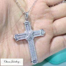 925 Solid Sterling Silver Large Cross Pave Cubic Zirconia Necklace Jewellery Uk