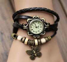 HOT SALE  Weave Butterfly Leather Bracelet Woman Quartz Wrap Retro Wrist Watch