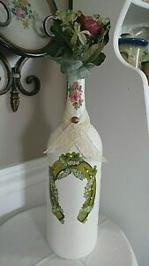 Hand Painted Wine Bottle Ivory w/ German Paper Dye Cuts Glitter Rose Floral