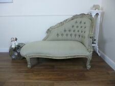 French Boudoir Chaise Lounge In Weathered Oak Finish