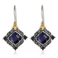 Fashion Women 925 Silver Sapphire Ear Hook Dangle Vintage Earrings Jewelry Gift