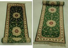 2.6 x 14 Classic Simple Traditional finesse Handmade Green Runner Rug