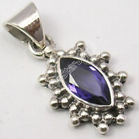 "925 Solid Sterling Silver Violet Facetted Iolite Pendant 0.9"" Fashion Jewelery"