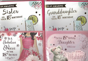 18th Birthday Card For Daughter Sister Granddaughter Niece Female Relations