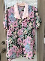 Victoria's Secret Vtg Gold Label Floral Print Pink Sleep Shirt Nighty Size S