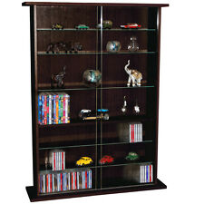 BOSTON Glass Collectable Display Cabinet  CD DVD Storage Shelves Dark Oak MS0642